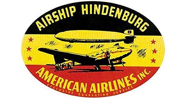 Airship Hindenburg American Airlines Inc Retro Vintage Decal Sticker Souvenir Skateboard Laptop