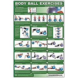 Laminated Body Ball Core Exercise Poster - This Exercise Ball Chart was Created by Fitness Experts with University Degrees in Exercise Physiology - ... with the Many Core Muscle Exercises.