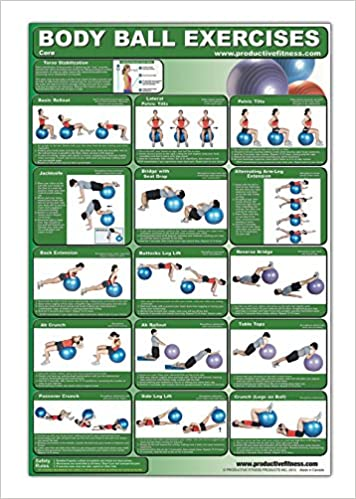 Laminated Body Ball Core Exercise Poster - This Exercise Ball Chart