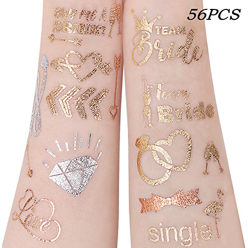 Unomor 56PCS Hen Party Tattoos,Team Bride Gold Temporary Tattoos for Hen Party Accessories Hen Do Accessories