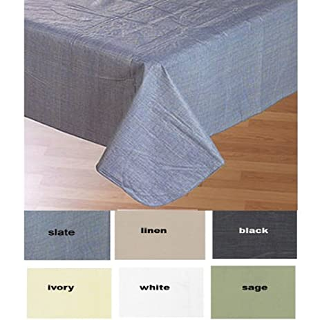Carnation Home Fashions Vinyl Tablecloth With Polyester Flannel Backing, 70 Inch  Round, Linen
