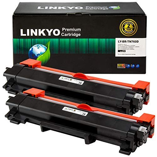 LINKYO Compatible Toner Cartridge Replacement for Brother TN760 TN-760 TN730 (Black, High Yield, 2-Pack) ()