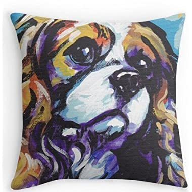 XiaoJJ Home Decorative Custom Cotton Cavalier King Charles Spaniel Dog Pillow Cases 18x18 Inch One Side