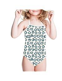 Ertyz Cartoon Whale 3-8T Toddler Bikini Baby Bathing Suit Girls One Piece Swimsuit
