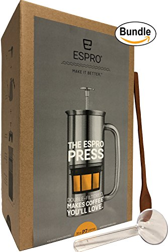Espro Coffee Press P7-32 oz Double Wall Vacuum Insulated Polished Stainless Steel Coffee Press, Zonoz One-Tablespoon Plastic Clever Scoop & Zonoz 8.25-Inch Wooden Stirring Spoon Bundle by Espro (Image #3)