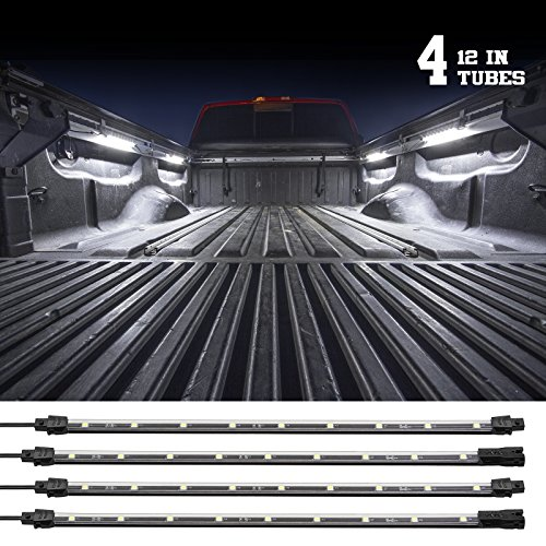 - 2nd Gen WHITE Truck Bed Tool Box Light Kit with Auto-off Delay Switch 4pc 12inch Tubes