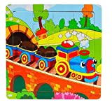 Children Toys Dartphew [ Cute Wooden Kids 16 Pcs Jigsaw Education - Learning Puzzles Toy Gift ] - Teaches Dexterity and Coordination (Size:14.7X 14.7cm/5.8''x5.8'' )