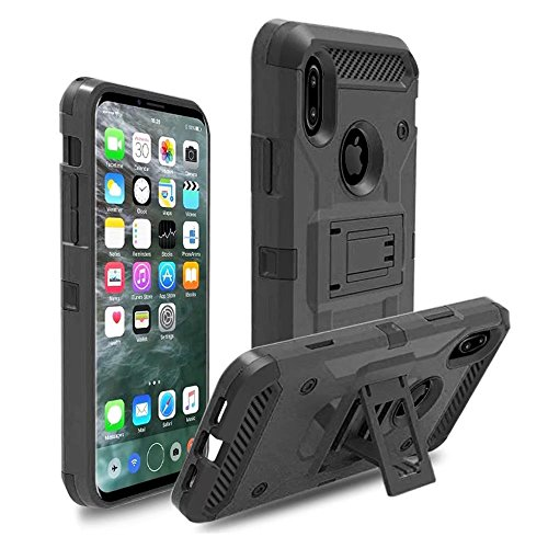 iPhone X Holsters Clips, Lantier Heavy Duty Shockproof Hybrid Defender Full-body Armor Rugged Holster Protective Carrying Case Cover with Swivel Belt Clip and Kickstand für Apple iPhone X
