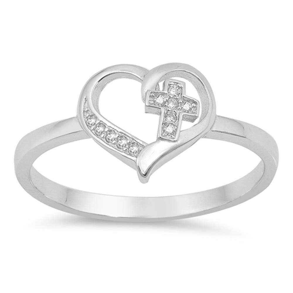 Sterling Silver Simple Cross Heart CZ Promise Purity Ring Sizes 6