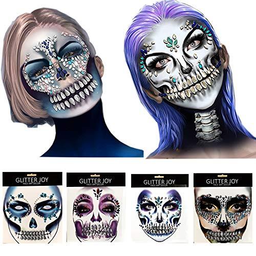 Best Halloween Makeup For Sugar Skull (Day Of The Dead 4 Pcs Sugar Skull Face Temporary Tattoo Sticker,Halloween Face Gem Jewel)