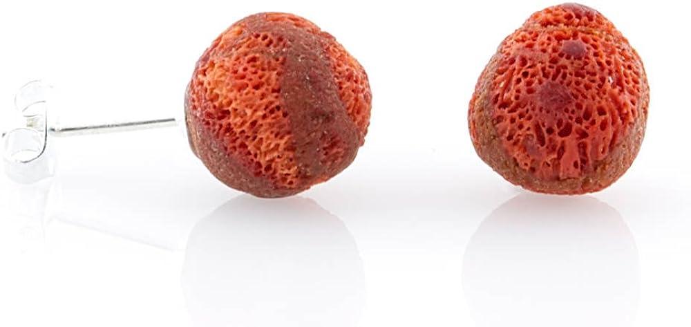argent 925 Pop Dito Boucles doreille Corail Mousse boule rouge mat