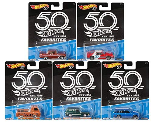 50th Anniversary Car - 2018 Hot Wheels 50th Anniversary Favorites Series Set of 5 1/64 Scale Diecast Cars