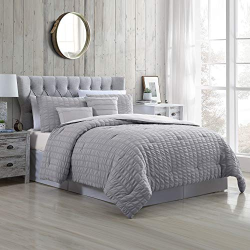 Amrapur Overseas Kallan 5-Piece Seersucker Comforter Set, Queen, Grey