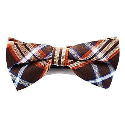 Sim Mens Cotton Plaid Handmade Bow Tie With a Gift Box