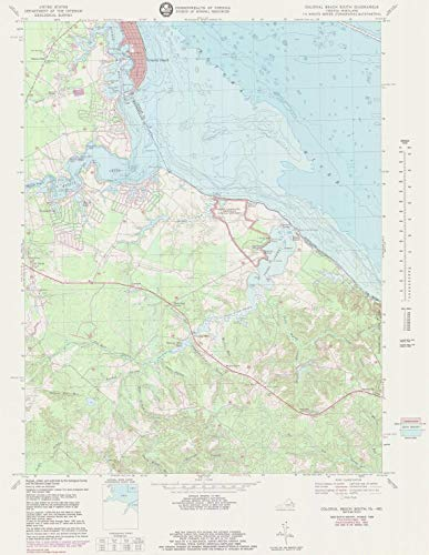 Professionally Reprinted 18 x 24 Image of 1980 Topographic Bathymetric Map Colonial Beach South by US Geological Survey VA, - Map Colonial Us