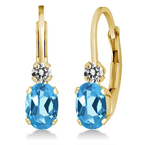 1.07 Ct Oval Swiss Blue Topaz White Diamond 14K Yellow Gold Earrings 14k Yellow Gold Swiss