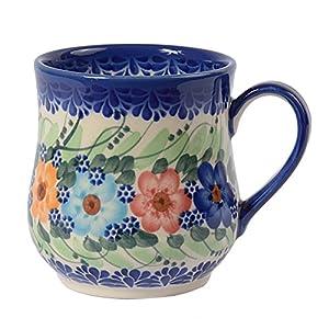 Traditional Polish Pottery, Handcrafted Ceramic Drop-shaped Mug (350 ml /12.3 fl oz), Boleslawiec Style Pattern, Q.102.GARLAND