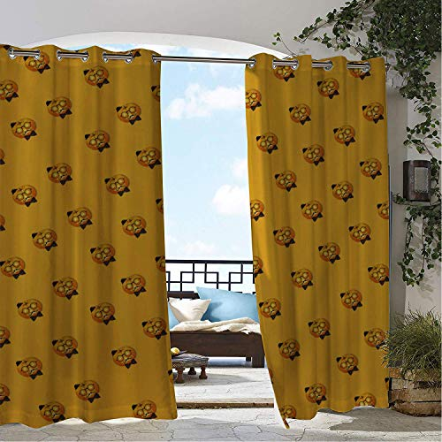 (Linhomedecor Patio Waterproof Curtain Halloween Pumpk Lantern Eyeglasses Multicolor Porch Grommets Print Curtains 72 by 96 inch)