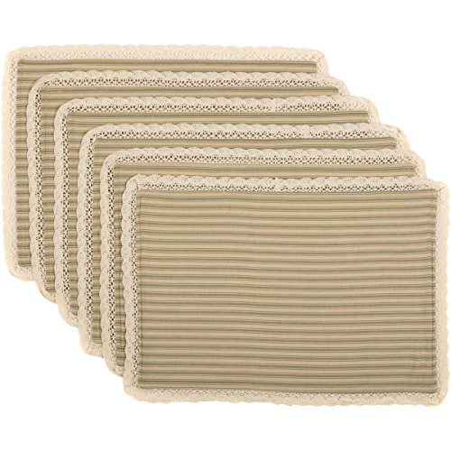 VHC Brands Classic Country Farmhouse Tabletop & Kitchen - Kendra Stripe Tan Placemat Set of 6, Green