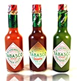 Tabasco Brand Pepper Sauce Variety Set Featuring: Original Flavor, Smoked Chipotle, and Milder Green Jalapeno