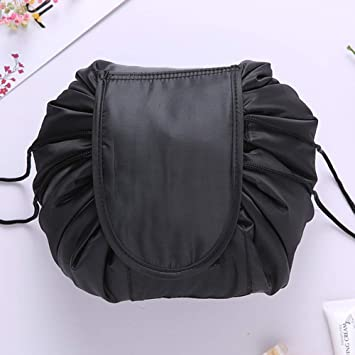 7281c776d57a Amazon.com   Women Drawstring Cosmetic Bag Fashion Travel Makeup Bag  Organizer Make Up Case Storage Pouch Toiletry Beauty Kit Box Wash Bag  (black)   Beauty
