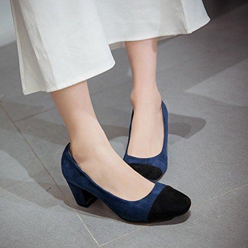 Carolbar Womens Square Toe Assorted Colors Mid Heel Pumps Shoes Blue yEvcrnUnEe