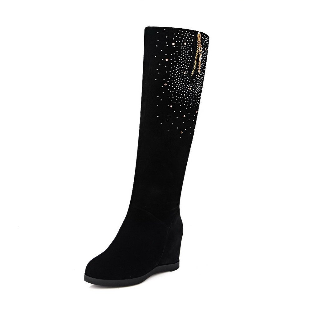 WeenFashion Women's Closed Toe High-Heels Solid Pull-On Boots with Charms, Black-Glass Diamond, 41