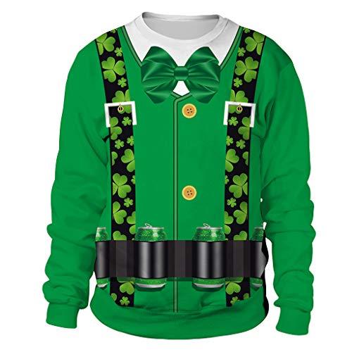 St. Patrick's Day Couple Shirt Fashion Printing Green Clover Sweatshirt