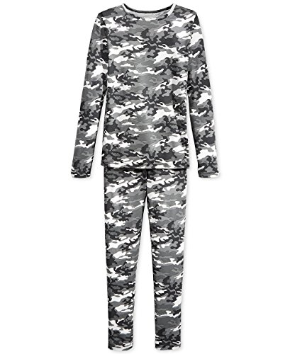 32 Degrees Weatherproof Big Boy's Base Layer Thermal Set, L, Gray Camo Boys Camo Thermal