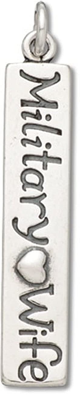 Sterling SilverMILITARY WIFE With Heart Armed Forces Word Dangle Charm Bead For Bead Bracelet