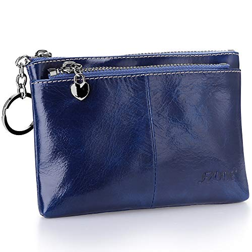 S-ZONE Women's Genuine Leather Mini Wallet Change Coin Purse Card Holder with Key Ring (Blue)