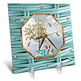 3dRose Beverly Turner Chinese New Year Design - Chihuahua, Pillow, Dragonflies, White Tree, Hexagon Design, Aqua Blue - 6x6 Desk Clock (dc_262898_1)