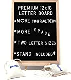 #3: Large Letter Board & Accessories Set—550 Changeable White Plastic Letters—2 Letter Holder Bags and Wooden Stand—12 x 16 Inch Wood Frame, Black Felt, Wall Mount—Decorative Sign, Big Bulletin, Marquee