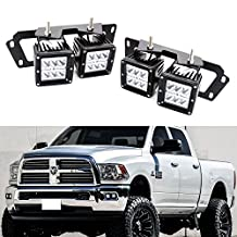 iJDMTOY (4) 24W High Power Dually 2x3 LED Pod Lights w/ Fog Lamp Location Mounting Brackets & Wiring Kit For 2009-2012 Dodge RAM 1500 & 2010-up Dodge RAM 2500 3500