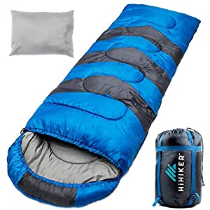 HiHiker Camping Sleeping Bag + Travel Pillow w/Compact Compression Sack - 4 Season Sleeping Bag for Adults & Kids - Lightweight Warm and Washable, for Hiking Traveling. 6