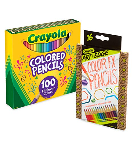 Crayola 68-4600 100 Count Colored Pencil Collection with 16 Count Color Fx Metallic & Neon, Amazon Exclusive, Stocking Stuffer, -