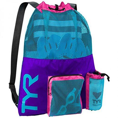 Swim Mesh Backpack Bag (TYR Big Mesh Mummy Backpack (Purple/Blue))