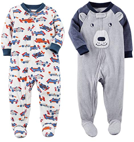 (Carter's Baby Toddler Boy's 2 Pack Fleece Footed Pajama Sleep and Play Set (18 months, Zipper Closure - White Race Car and Grey Blue Bear Face) )