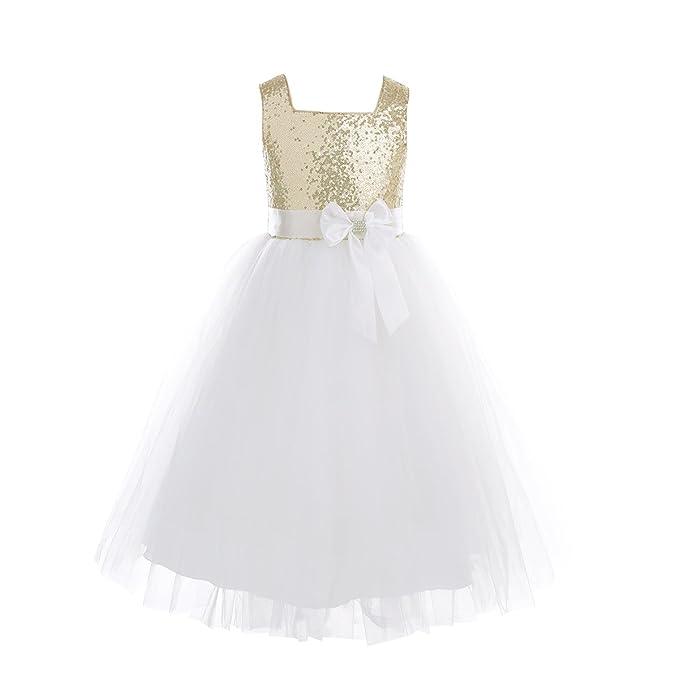 Freebily Vestido Largo de Fiesta Ceremonia para Niñas 2 Años 8 Años con Lentejuelas Brillates Tutú