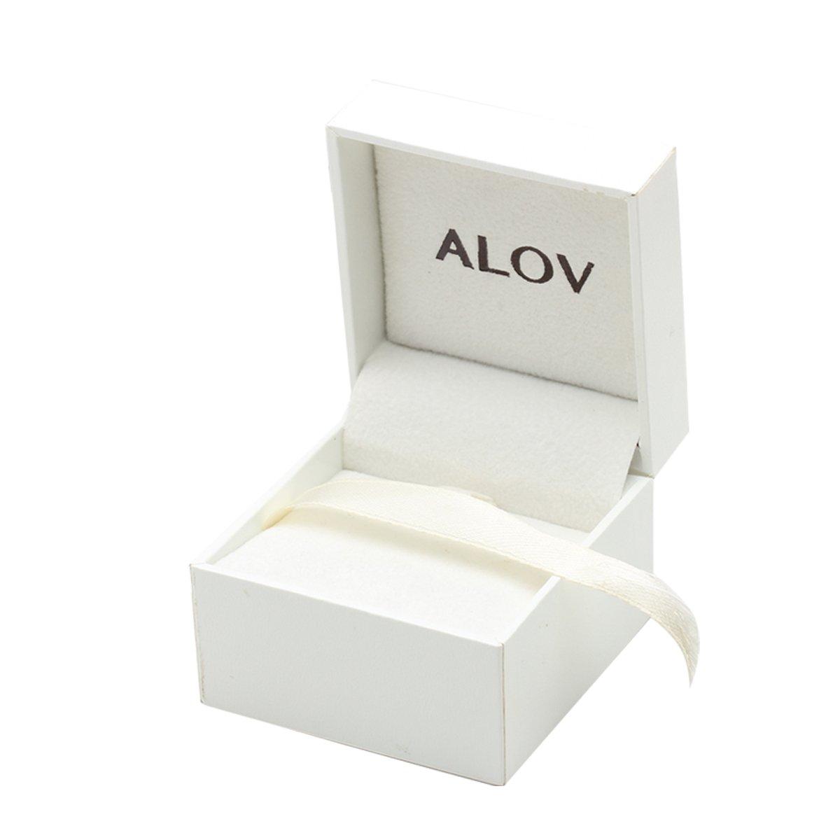 ALOV Jewelry Sterling Silver LOVE Cubic Zirconia Stud Earrings