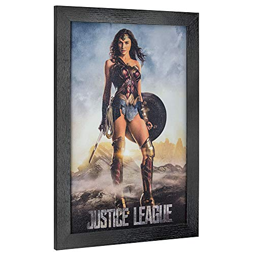 "Officially Licensed D.C. Comics Justice League Wonder Woman Framed Movie Poster Wall Art (19"" H x 13"" L)"