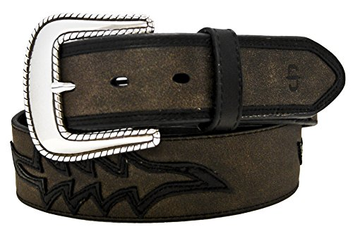 Stetson Delano 1.5 inch Antiqued Leather Belt with Western Flare Overlays - Delano Leather