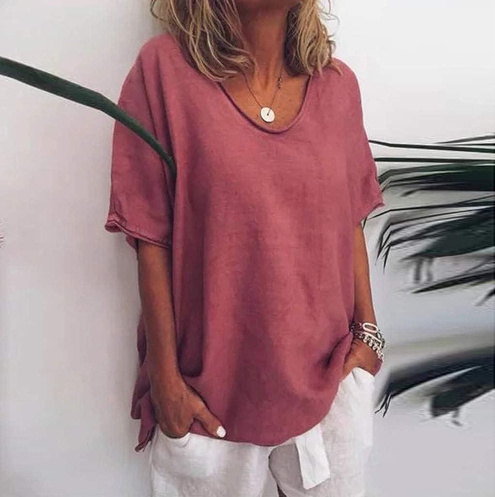 Mujer Casual Summer Solid O-Neck Mangas Cortas Talla Grande Top Camiseta Tops Casuales Camisa del O-Cuello Top De La Moda Mujer De Camiseta Xinantime/_Camisetas de mujer Verano Moda