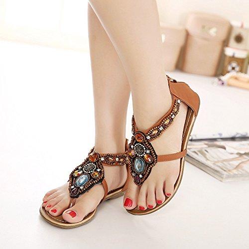 Las mujeres del verano de T-Correa Planas Sandalias del Verano Bohemia Zapatos De Playa Adorno De Rhinestone Marrón