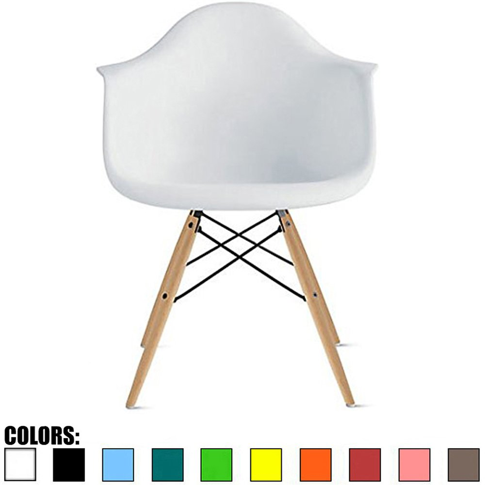 2xhome White Plastic chair Arm Chair Eiffel With Natural Wood Legs