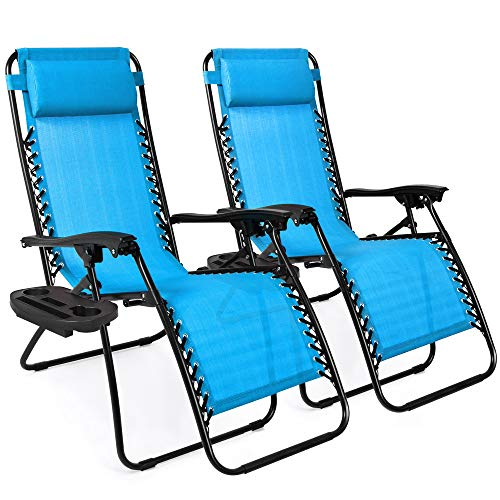 Beach Lounger - Best Choice Products Set of 2 Adjustable Zero Gravity Lounge Chair Recliners for Patio, Pool w/Cup Holders - Aqua Blue
