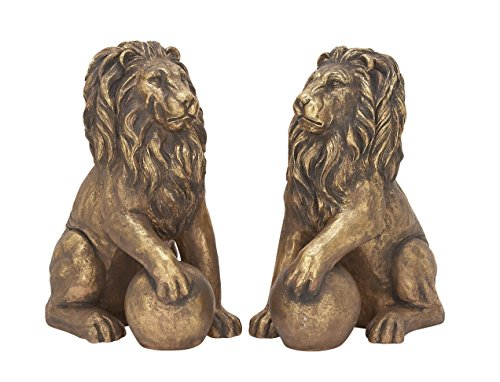 Benzara 77157 Polystone Lions Pair 24''W, 32''H, Gold Animal Statue by Benzara (Image #1)