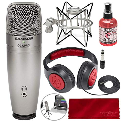 (Samson C01U Pro USB Studio Condenser Microphone W/Spider Shock Mount, Microphone sanitizer, Samson Stereo Headphones and FiberTique Cleaning Cloth)