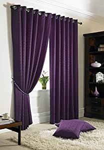 """JACQUARD CHECK PURPLE 66X54"""" 168X137CM LINED RING TOP EYELET CURTAINS DRAPES"""