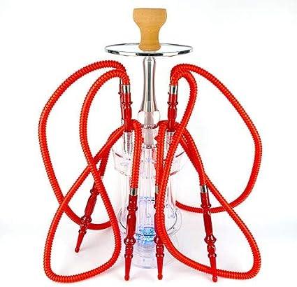 WJMT Acrílico cachimba del Kit del 60cm 4 Manguera de Hookah Shisha Luces Sheesha Narghile irrompible silicio Tazón + Carbón Pinzas + LED